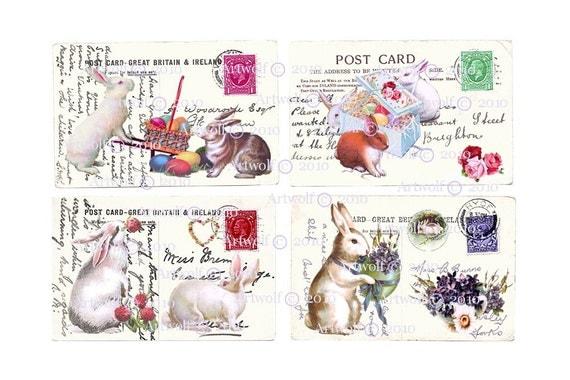 Instant Download BUNNY Rabbits EASTER  DIGITAL Download Spring  BIrTHDay Printable Vintage Postcard Papercrafts Scrapbooking Cardmaking