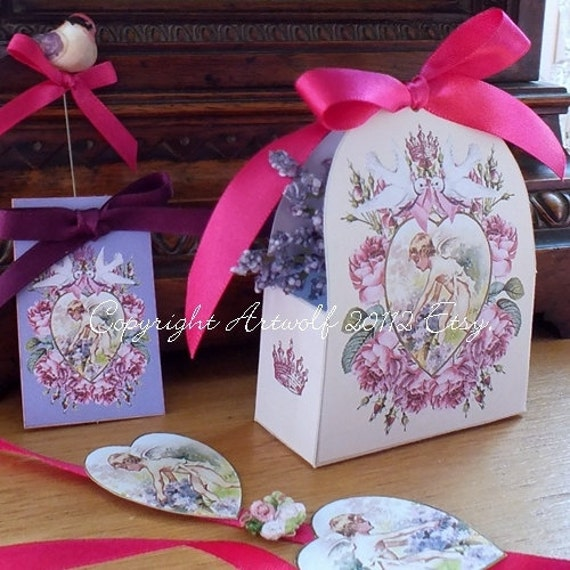 BOX Wedding Favor Party Doves Crown Heart Cherub Rose Birthday Tags ...