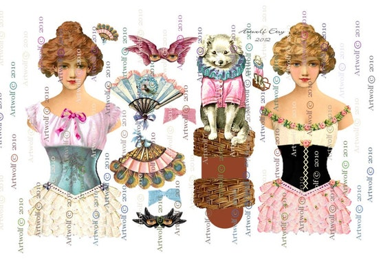 Instant Download DIGITAL PAPER DOLLs  2 Stage Theatre Showgirl Circus Dolls 3 sheets Vintage Pet Dog masks Papercraft Cardmaking