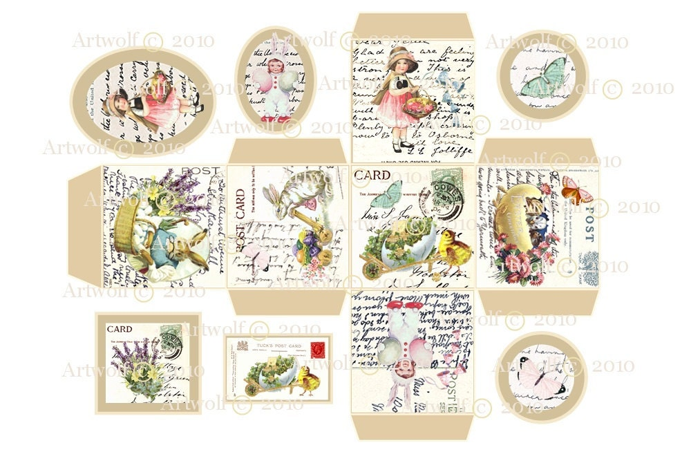 Instant digital gift box easter tags vintage printable zoom negle Gallery