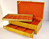 Mod Palms / vintage jewelry box / orange velvet / Lady Buxton / LG