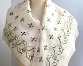 RESERVED FOR JUDY Vintage Vera Neumann Silk scarf / Rare Gold  fleur de lys / 1940s / Large