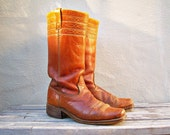 Vintage caramel leather campus boots / Dingo