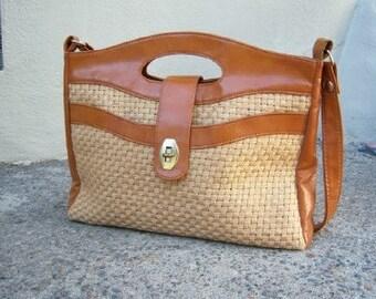 Vintage 70s shoulder bag / caramel wheat tote / vegan hemp weave / boho bag