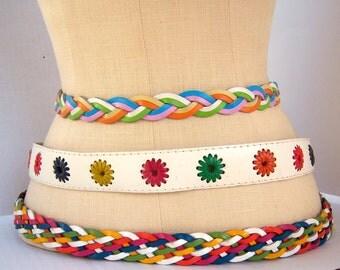 Vintage 60s leather belt / PASTEL braided girl belt / xs / lime green violet orange blue