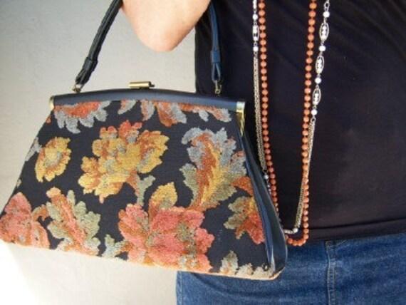 Antique chenille carpet bag / sage persimmon leaves/ vintage 40s
