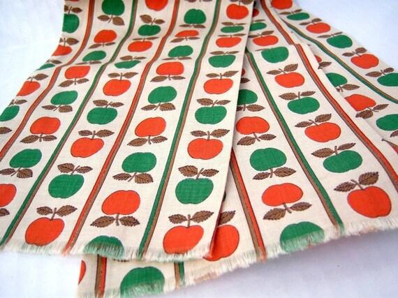 Orange Apples / vintage scarf / long cotton