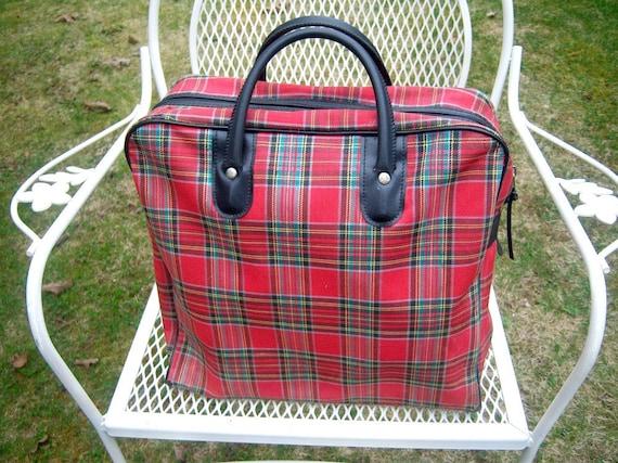 Vintage red plaid tote // English School Girl book bag