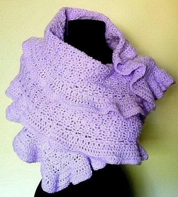 How To Crochet Ruffle Rose Scarf Free Pattern Tutorial For Beginners : Ruffled Shawl Wrap Crochet Pattern PDF EASY by timaryart ...