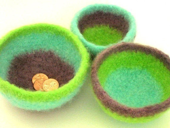 Chubby Felt Wool Bowls in 6 sizes Crochet Pattern PDF permission to sell what you make