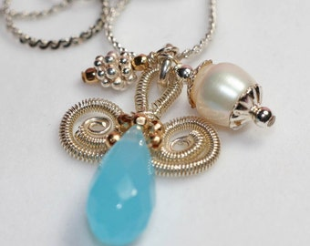 Fabulous Peruvian Opal Quartz and Freshwater Pearl necklace