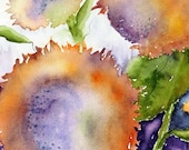 watercolor painting original sunflower abstract orange purple