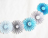 paper flowers garland turquoise grey wedding party decor photo shoot