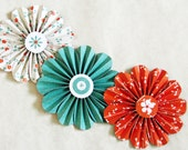 paper flowers garland  orange turquoise wedding wall decor photo shoot