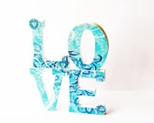 wood letters love turquoise boho hippie shabby chic folk