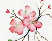 painting watercolor original pink dogwood tree