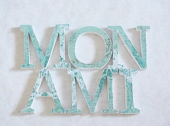 wood letters mon ami aqua white