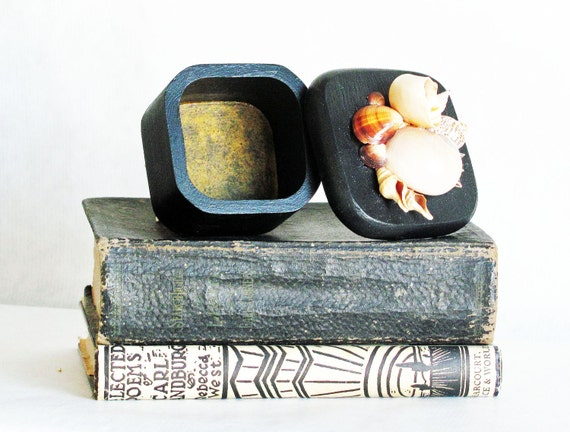 seashell box, black trinket box, beach decor, seashell art, beach theme home decor, coastal living decor