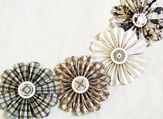 garland paper flowers brown cream mobile photo shoot wall decor