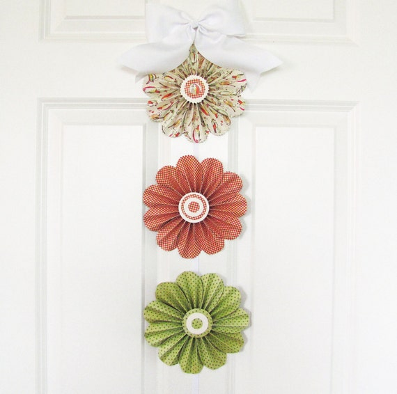 garland paper flowers birds checks spring red and green photo shoot