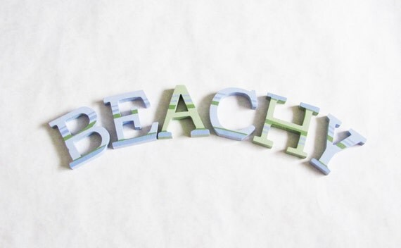 painted wood letters, beach theme decor, coastal living decor, beach signage, beach wedding sign