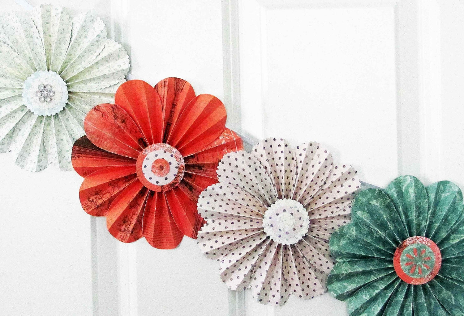 Paper flowers floral garland party decor home wall decor for Flower decoration made of paper