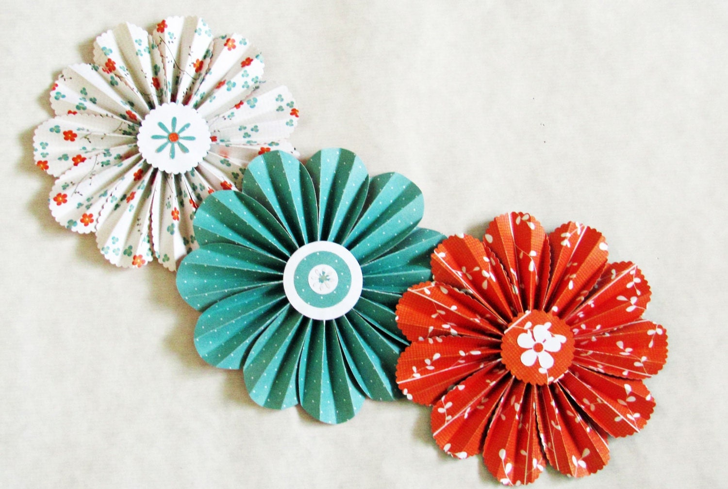 paper flowers garland orange turquoise wedding wall by SheShell