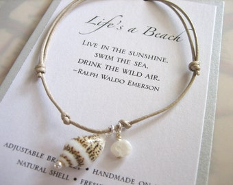 Life's A Beach Adjustable Cord Bracelet