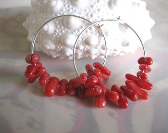 Coral Cluster Hoop Earrings - Silver