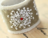Hand Embroidery Textile Jewelry Ring Queen Annes Lace Hand Embroidered