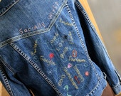 Womens Jacket Outerwear more Hand Embroidery Jean Jacket Social Networking Wired Hand Embroidered