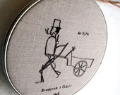 Textile Art Embroidery Home Decor Wall Hanging Fiber Art Hoop Steam Engine Man Hand Embroidered Invention
