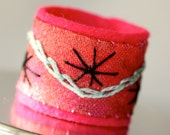 Fabric Textile Ring Hand Embroidery Pink Flambe Star Ring
