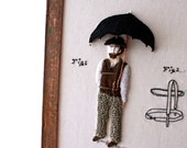 Textile Art Wall hanging more Fabric Hand Embroidery Etsy Invention Art Umbrella Man Victorian Steampunk Men Decor