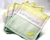 Hand Embroidery Fabric Textile Coasters Yellow Mint Lemon and Lime Summer Fun Linen Embroidered