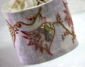 Hand Embroidery Fabric Textile Cuff Embroidered Linen Jacobean Purple Spring Tulips