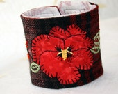 Fabric Textile Wrist Cuff Red Tartan Plaid Hand Embroidery Bracelet Appliqued Pansy