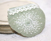 Hand Embroidery Queen Annes Lace Embroidered Brooch Mint Pastel Lace Linen
