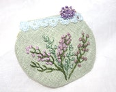 Hand Embroidery Textile Fabric Brooch Lavender Embroidered Mint Pastel Lace Linen