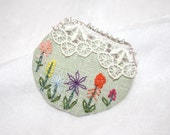 Hand Embroidery Garden Window Embroidered Brooch Mint Lace Linen