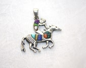 Kokopelli on Horse Sterling Silver with Inlaid Stones LA Sterling Pendant