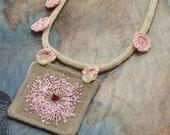 Hand Embroidery Necklace Textile Fiber Queen Annes Lace Textile Pink