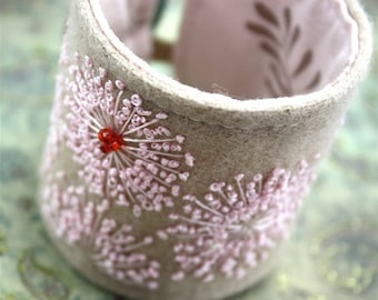 Fabric Bracelet Cuff Hand Embroidered  Queen Annes Lace In Pink Silk Wrist Cuff