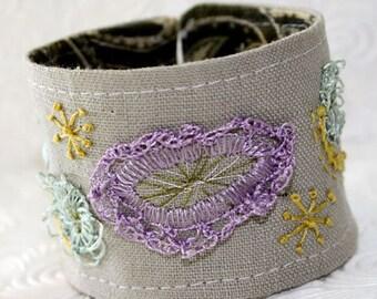 Fiber Fabric Textile Wrist Cuff Bracelet Hand Embroidery Linen  Abstract Geometry Handmade khaki