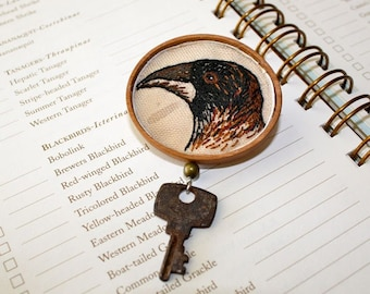 Crow and Key Hand Embroidery textile brooch Steampunk Wood Linen Brooch Halloween