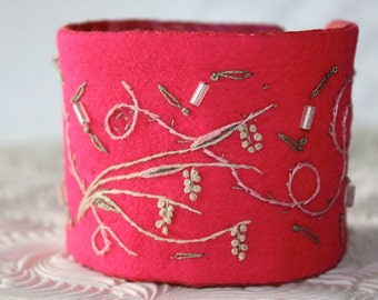 Textile Fabric Bracelet Cuff Hand Embroidery  Pink Flambe Fabric Embroidered Windswept Beaded