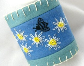 Wrist Cuff Hand Embroidery Daisies and Bumblebee