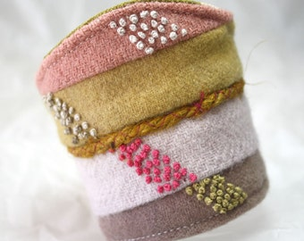 Fabric Textile Bracelet Cuff Hand Embroidered Colorblock Wool Cuff