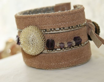 Wrist Cuff: Silver Amethyst and Leather