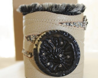 Leather Wrist Textile Fabric Cuff  Dark Earth with vintage button
